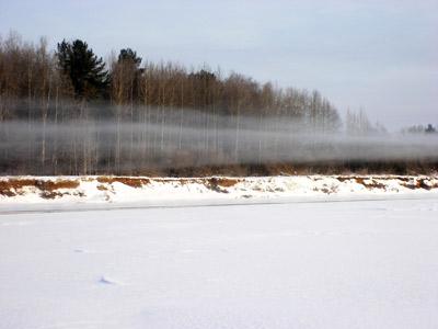 Слои тумана от полыньи на Вятке